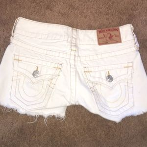 true religion (brand name) white shorts